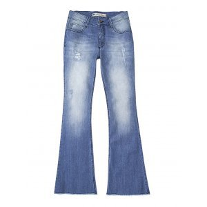 Calça Feminina Hering Em Jeans Flare Com Barra Desfeita E Puídos
