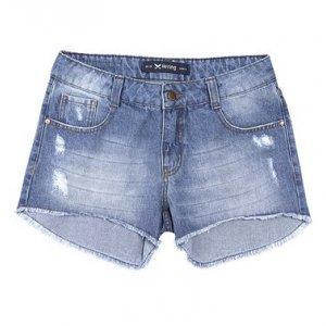 Shorts Feminino Hering Em Jeans Com Modelagem Summer E Puídos