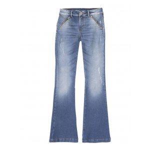 Calça Jeans Flare Feminina Hering Cintura Alta E Detalhe Zíper