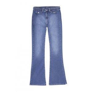 Calça Jeans Flare Feminina Hering Com Cintura Alta E Detalhe Trançado