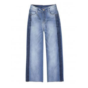 Calça Pantacourt Jeans Feminina Hering Com Detalhe Lateral