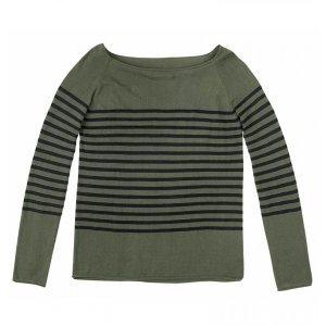 Sweater Em Tricot Com Listras De Fio Tinto