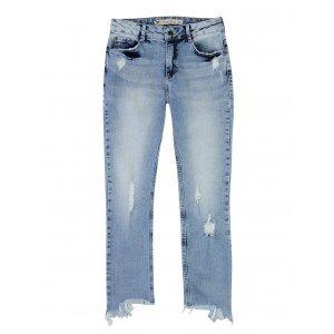 Calça Jeans Feminina Skinny Em Algodão Com Barra Desfiada