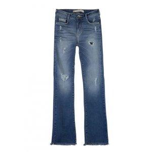 Calça Feminina Bootcut Jeans Com Destroyed