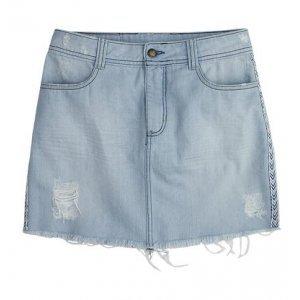 Saia Jeans Com Detalhe Na Lateral Em Algodão