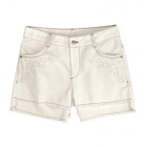 Shorts Feminino Com Detalhe De Bordado Em Algodão