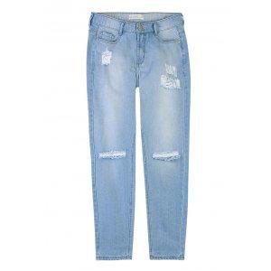 Calça Jeans Tradicional Em Lavação Clara Destroyed