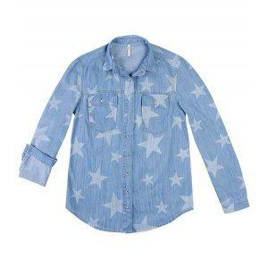 Camisa Jeans Com Lavação De Estrelas