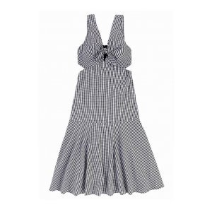 Vestido Midi Em Tecido Xadrez Vichy - Brigitte Edition