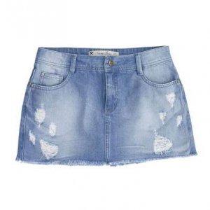 Shorts Saia Jeans Feminino Com Detalhes Destroyed