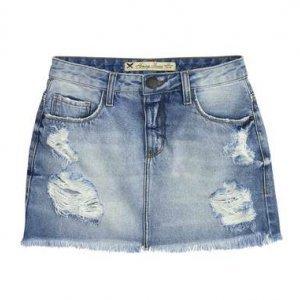 Saia Jeans Cintura Alta Com Detalhes Destroyed
