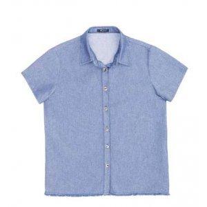 Camisa Jeans Feminina Com Efeito Desfiado Na Barra