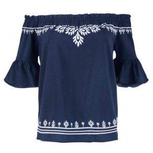 Blusa Feminina Em Tecido De Viscose Ombro A Ombro Com Bordado