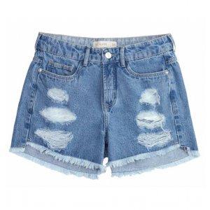 Shorts Jeans Cintura Alta Com Barras E Efeito Destroyed