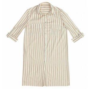Vestido Camisa Em Tecido De Viscose De Fio Tinto