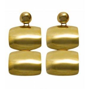 Brinco Duplo Retangulo Dourado Tamanho:  U - Cor:  Dourado