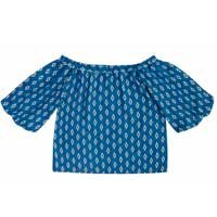 Blusa Ombro A Ombro Em Tecido De Viscose Estampado