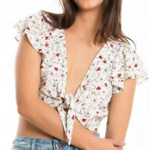 Blusa Cropped Branca Estampa Florzinhas