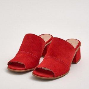Sandália Médio Camurça Vermelho