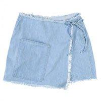 Shorts Saia Envelope Jeans Com Barras Desfiadas