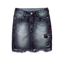 Saia Jeans Destroyed Com Lavação Escura Dzarm
