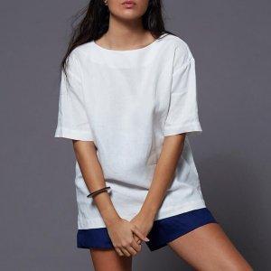 T-Shirt Linho Gola Dupla White