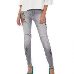 Calça Jeans Estampa Tropical - 42