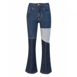 Calça Jeans Flare Cropped Recortes