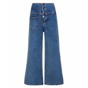 Calça Jeans Pantacourt Bolso