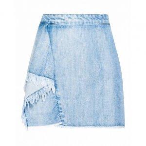 Saia Jeans Curta Babado Desfiado