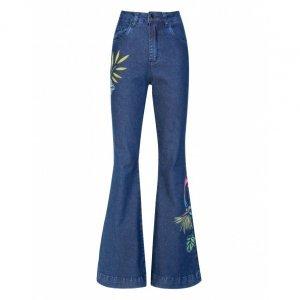Calça Jeans Flare Pintada A Mão Arara