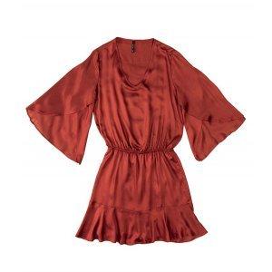 Vestido Com Barra Godê Em Tecido De Viscose Dzarm