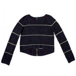 Sweater Cropped Listrado Em Tricot Dzarm