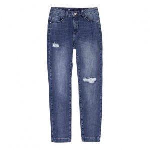 Calça Jeans Feminina Cintura Alta Com Puídos