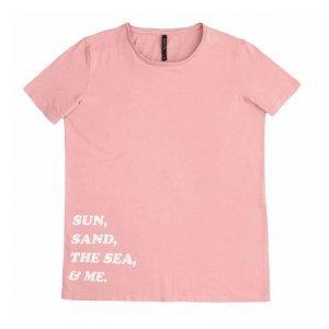 T-Shirt Candy Color Em Algodão Com Lettering Print