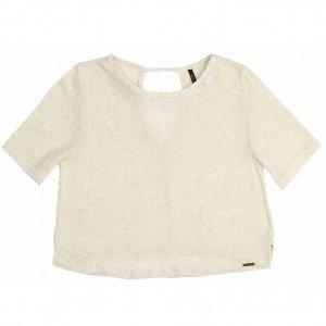 Blusa Cropped Em Tricô De Linho Com Decote Costas
