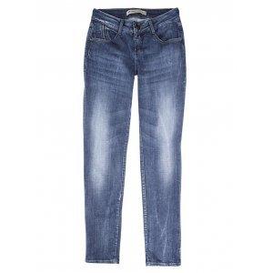Calça Feminina Super Cintura Alta Em Jeans C/ Desgaste