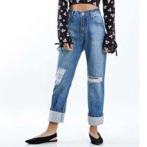 Calça Jeans Mom Destroyed Tamanho: 36 - Cor: Azul