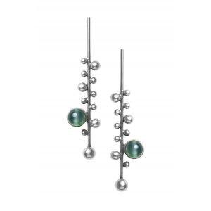 Brinco Esferas Quartzo Verde Prata Velho