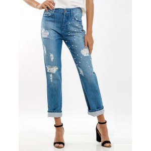 Jeans Mom Bordado Pérolas