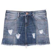 Saia Curta Jeans Feminina Com Puídos