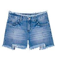 Shorts Jeans Feminino Em Algodão Com Cintura Intermediária E Barra Degrau