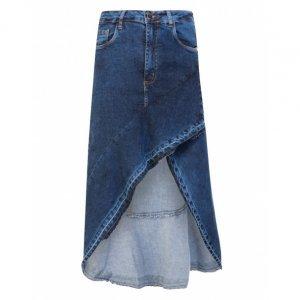 Saia Jeans Midi Babado
