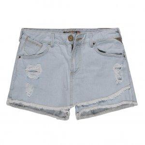 Short Saia Jeans Assimétrico Barra Desfiada