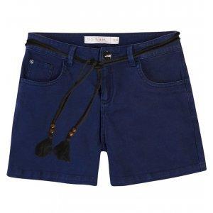 Shorts Em Sarja Com Cordão