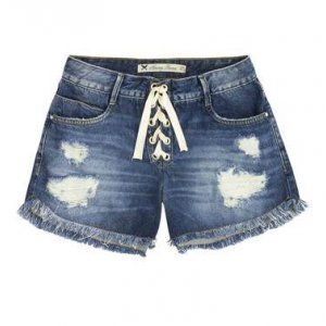Shorts Jeans Feminino Com Amarração E Detalhes Destroyed