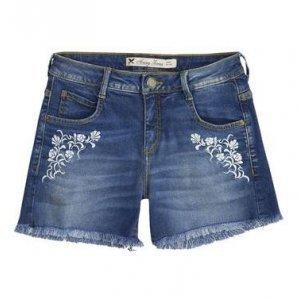 Shorts Jeans Feminino Com Cintura Intermediária E Bordado