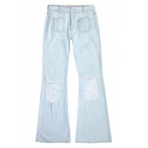 Calça Jeans Na Base Veneza Em Lavação Délavé E Efeito Destroyed