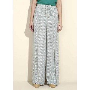 Calça Feminina Em Tecido De Viscose Com Modelagem Pantalona Estampada