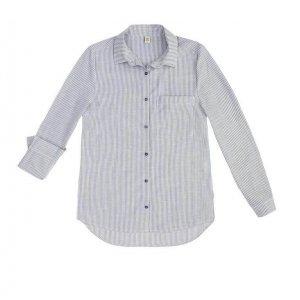 Camisa Listrada Feminina Manga Longa Em Tecido De Algodão